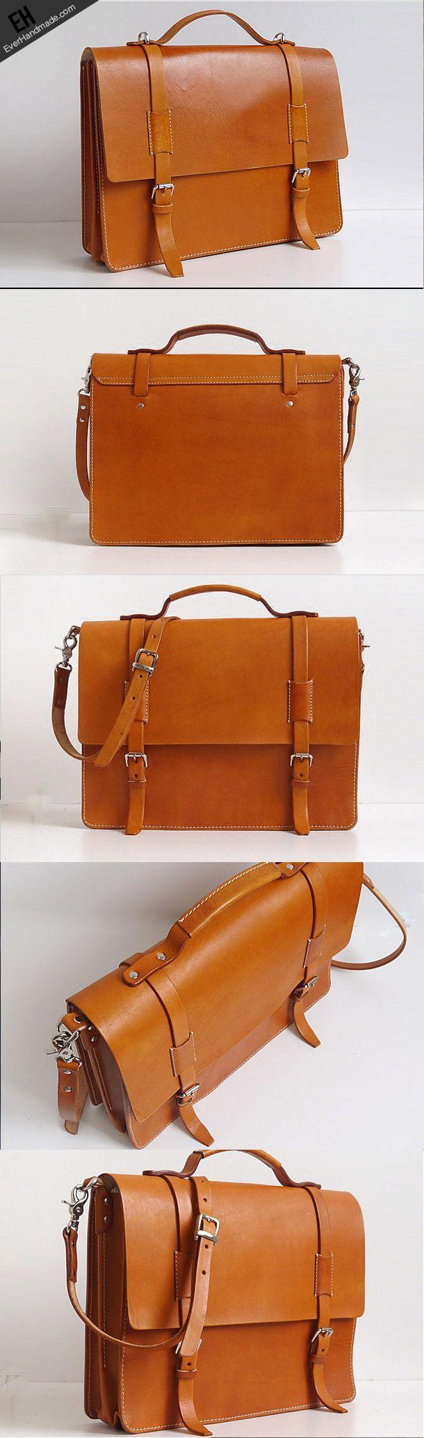 Handmade Leather messenger bag brief yellow brown for men women leather shoulder bag