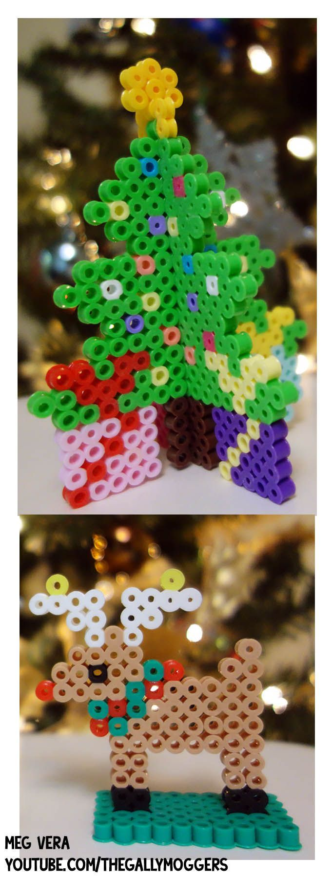 3D Perler Bead Christmas Tree and Perler Bead Reindeer. This Christmas Hamma Bead/Perler Bead is up on my channel on YouTube. http://youtu.be/jAt14eo4ITU