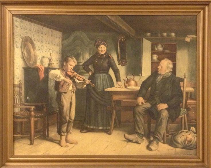 Præsentation for en kender (1887) af Julius Exner (1925-1910). Studier til maleriet er gjort på Fanø, hvis folkeliv interesserede ham stærkt. Billedet her har min Far og Mor fået af naboerne til deres sølvbryllup 4. december 1962. Originalen kan ses på Aros i Århus.  Jeg har altid undret mig over om nu grisehandlerens gris i sækken mon slap ud medens de lyttede til drengens violinspil.