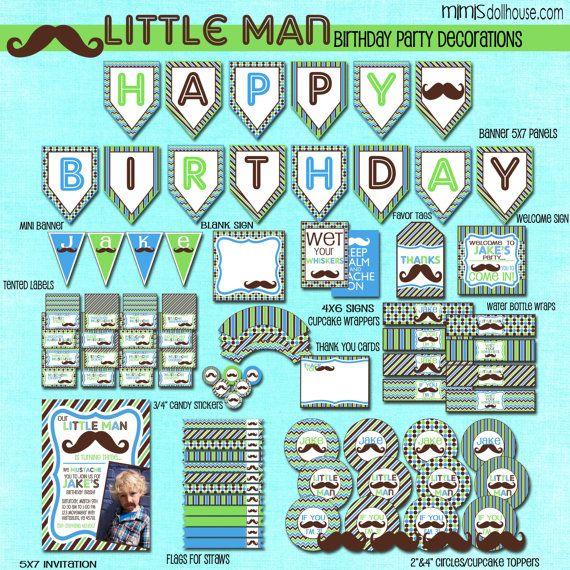 Little Man Party Supplies   Little Man Decorations- Printable Little Man Mustache Birthday Party ...