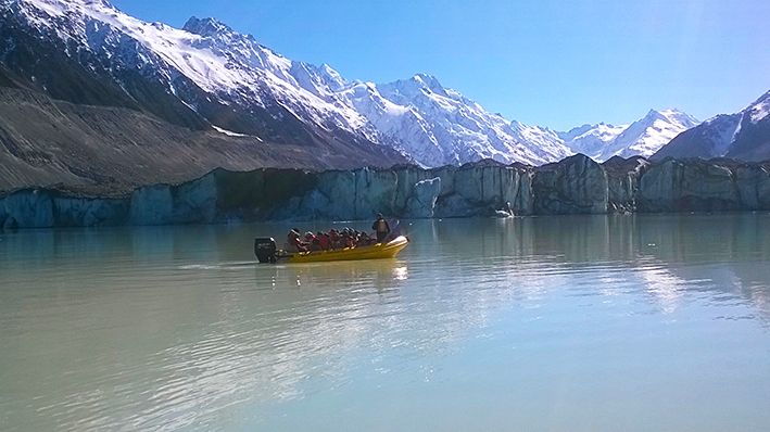 Glacier Explorers boat tours out on the Tasman Glacier Terminal Lake in Aoraki Mount Cook