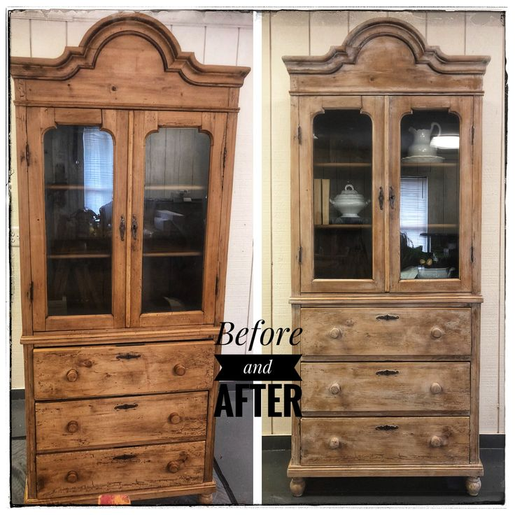 Antique European Waxed Pine Hutch Lime Washed In Paint