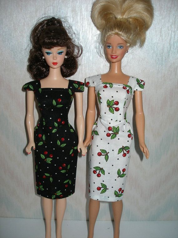 Handmade Barbie clothes - Your Choice white or black and red cherry print cotton sheath