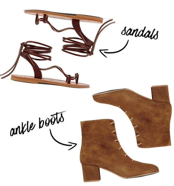 You've intuitively reached for lace-up sandals all summer long. Now, swap in neutral ankle boots to wear with nearly every ensemble. Lucile Leather Sandals, K Jacques St Tropez $265, Sun Suede Ankle Boots, ATP Atelier $575
