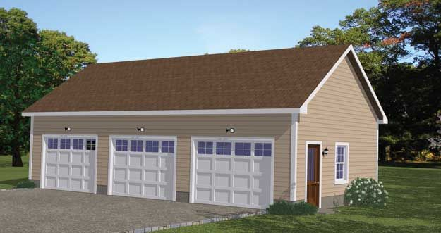 Simple and functional three stall garage with service door for 3 stall garage plans