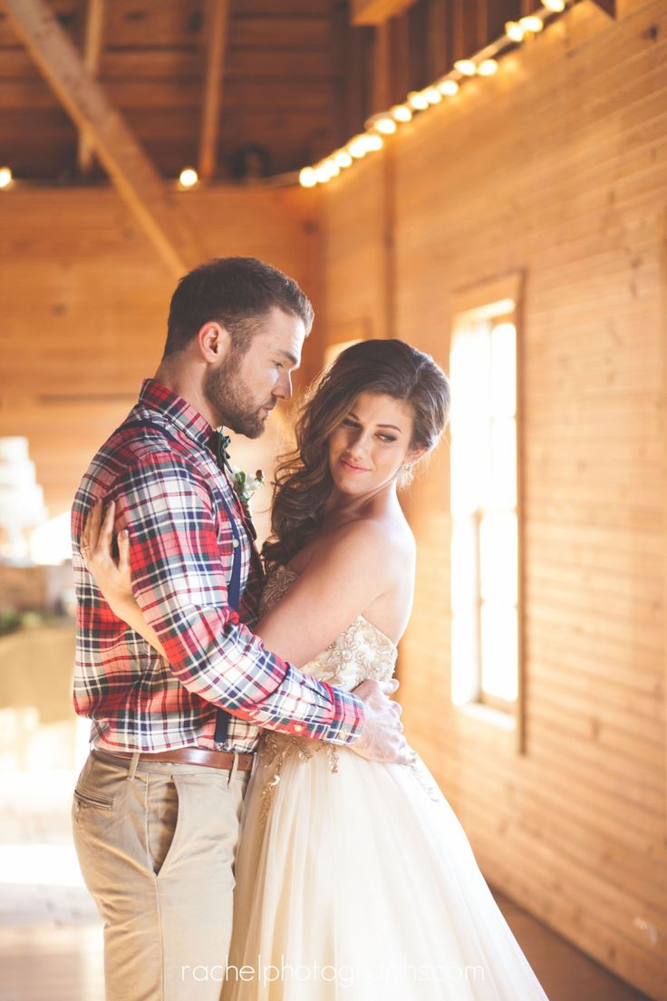 A Rustic, Winter Wedding | Love the flannel shirt for the groom