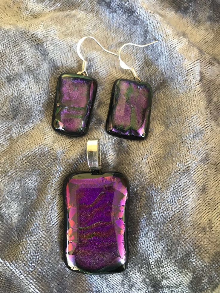 Beautiful purple dichroic glass Fused Pendant and earrings set, for sale in OrielsOriginals on Facebook
