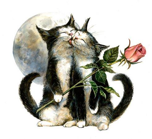 """""""Chavalentin"""", par Séverine Pineaux, 2011. -- """"Chavalentin (et sa Valentine…) est le protecteur des chamoureux de Faërie. Son ronronnement apaise toutes les querelles et il est le champion de châlins, des charesses et des chatouilles…""""."""