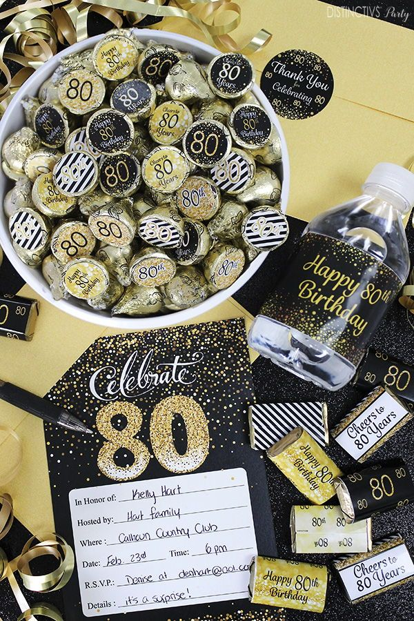 Happy 80th Birthday Party In Black And Gold In 2020 Happy 80th