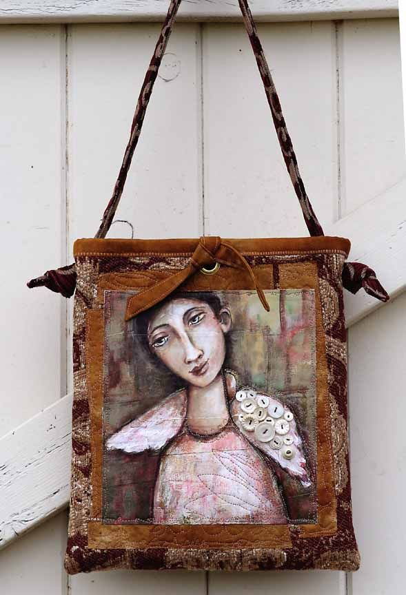 acrylic painting on handmade purse
