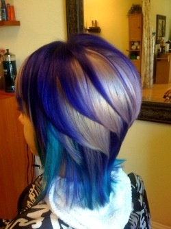 fun color, great haircut! Overall a very creative hair color job.