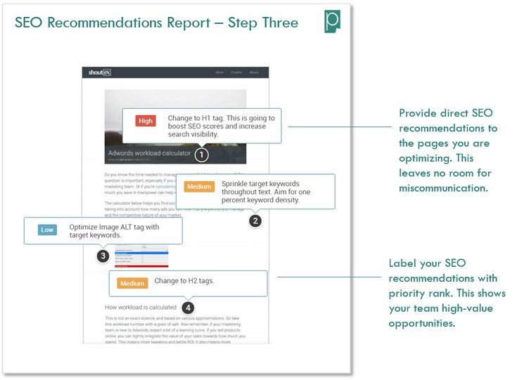 SEO Recommendations Report Pagezii SEO Analysis Tool Body Text Optimization