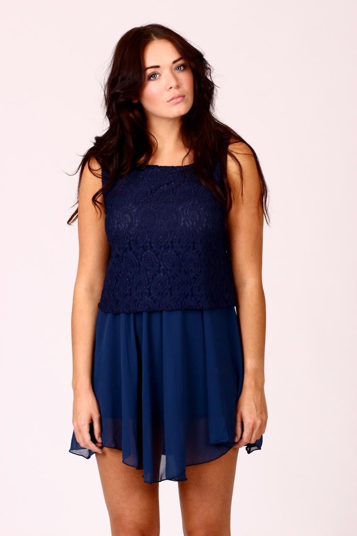LARA Lace Block Mini Dress Navy