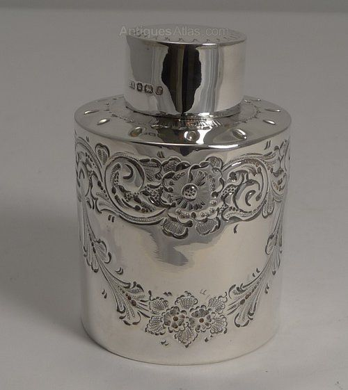 Antiques Atlas - Antique English Sterling Silver Tea Caddy - 1897