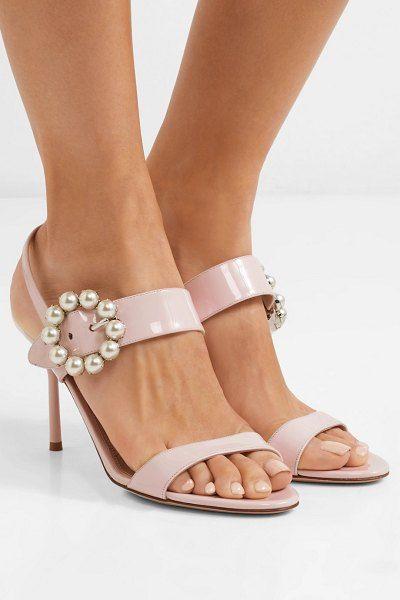 20b989a2b5e Faux pearl-embellished patent-leather slingback sandals by Miu Miu  miumiu
