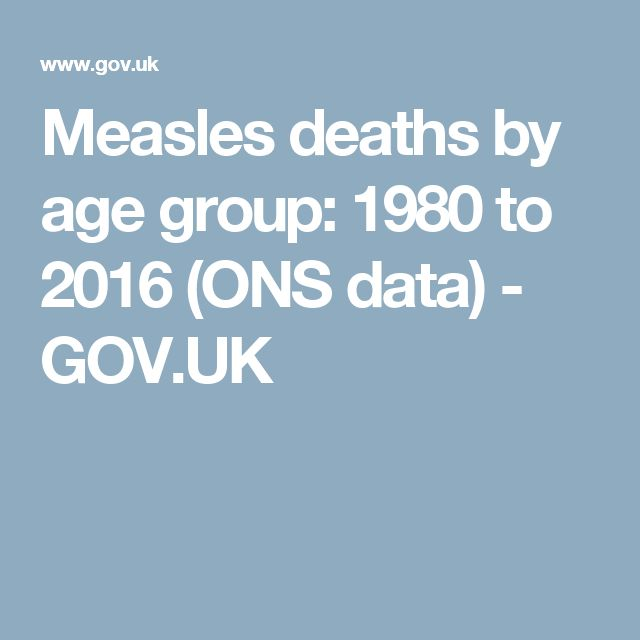 Measles deaths by age group: 1980 to 2016 (ONS data) - GOV.UK