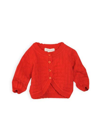 Pumpkin Patch - knitwear - jaquard soft cardi - S4BG30001 - mars red - 0-3m to 18-24m
