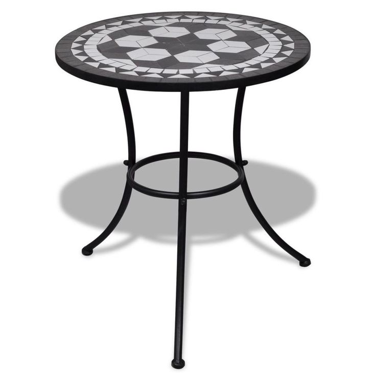 Round Mosaic Table Outdoor Balcony Garden Table Plant Stand 60 Cm Black / White