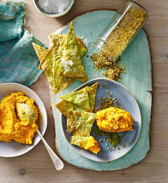 Roasted carrot dip with dukkah and lime wafers recipe Better homes amp gardens recipes