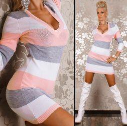 Rózsaszín csíkos V-kivágású kötött tunika / miniruha