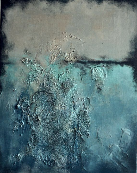 Ocean Textures Original Abstract Painting, Heavy Textured 20x16 inch SALE 25% OFF on Etsy, $210.00
