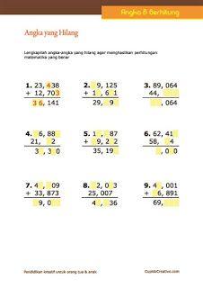 belajar matematika anak kelas 4 SD, melengkapi angka yang hilang dalam penjumlahan desimal