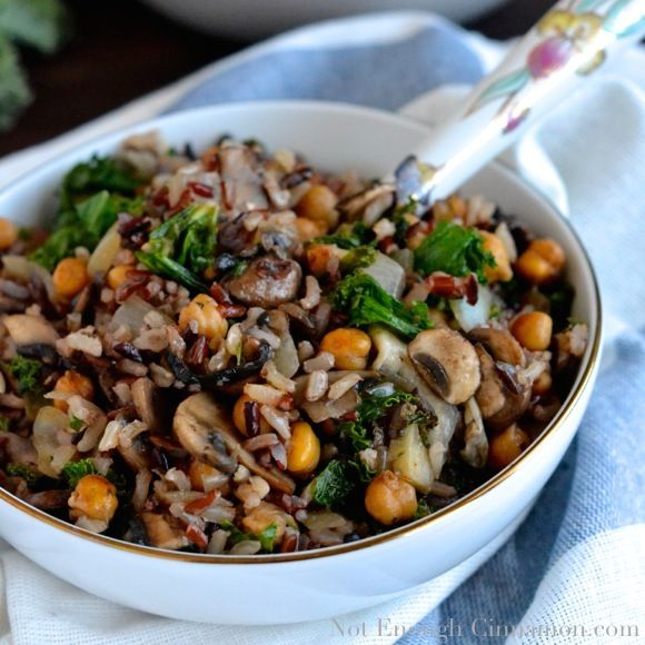 Kale, Mushroom and Roasted Chickpea Rice Bowls: a delicious, hearty and healthy vegetarian recipe.