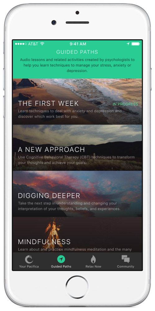 Pacifica - iOS, Android, Online - daily tools for stress and anxiety, is based on CBT and meditation