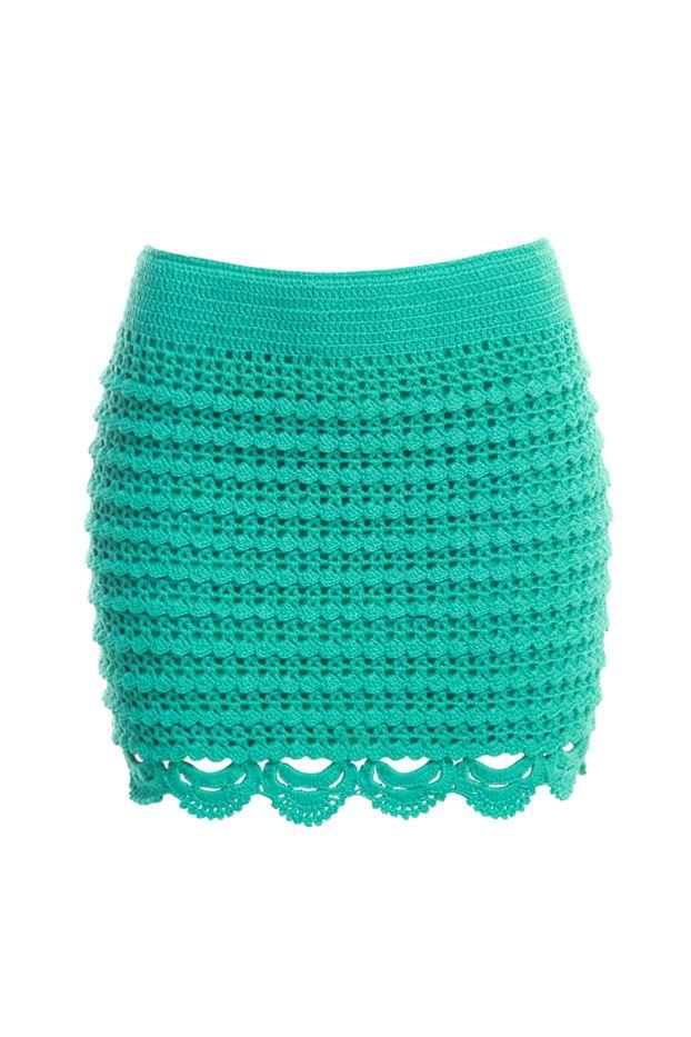 Falda color menta