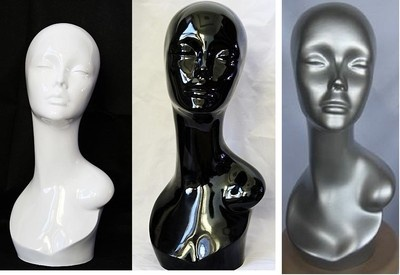 Shiny Female Black White Silver Mannequin Head For Display