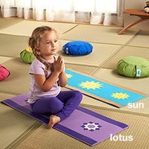 Discover why the yoga world is talking about The Little Yoga Mat. Extra-cushiony and super cute, this mini yoga mat is designed for toddlers to age four. Now your child can accompany you to class and practice on his very own mat. Eco-friendly, BPA, PVC, lead-free and easy to clean with soap and water. Choose from sunny blue and lotus purple. 14 inches wide by 36 inches long.