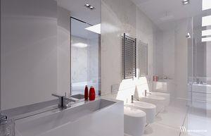 Biała łazienka w marmurze Bianco Perlino z ceramiką Flaminia. www.bartekwlodarczyk.com