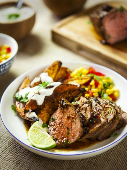 Piri Piri beef mini roast, with sweet potato wedges and chilli and lime dip | The Slimming Foodie