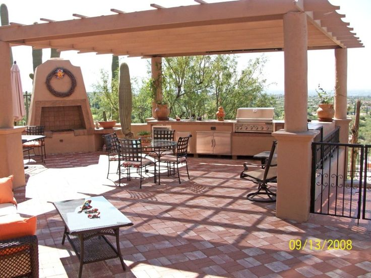 outdoor kitchen cabinets design ideas awesome chic and also lovely design with awesome wooden canopy and stone fireplace also round glass dining table and - Stone Tile Canopy Decorating