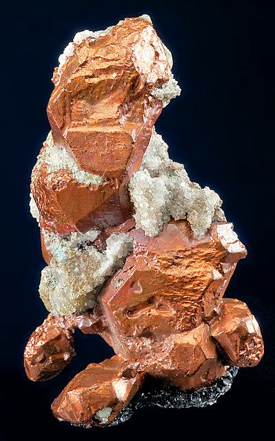 Bright, lustrous crystals of Native Copper. From the Calumet & Hecla Mine, Calumet, Houghton County, Michigan.