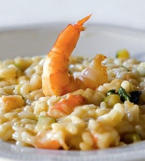 Risotto met scampi's en courgettes