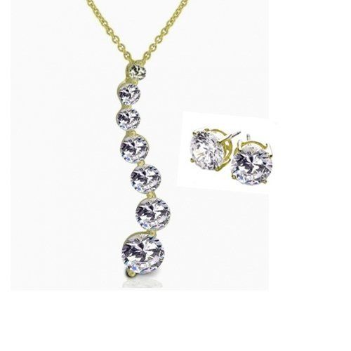 Bling Jewelry 14k Gold Vermeil CZ Journey Pendant & Earrings Set Bling Jewelry. $56.99. For pierced ears. Pendant: 3-7mm stones. Total weight 6 grams. Cubic zirconia. .925 Sterling silver with gold vermeil plating