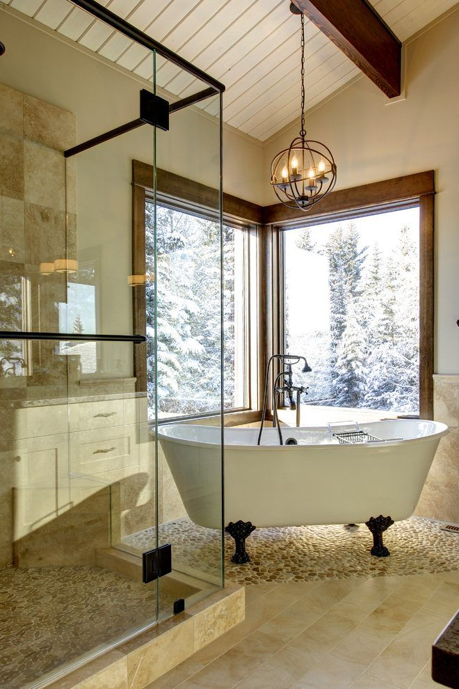 river rock floor bathroom traditional with pebble tile glass shower