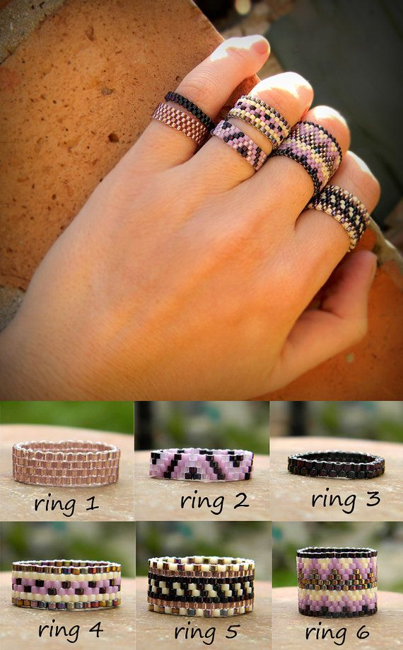 Bohemian rings set Purple boho rings Six beaded by HappyBeadwork More