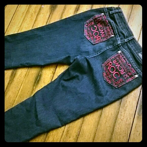 Rocawear skinny jeans Skinny deep blue skinny jeans from Rocawear. Size 7. Measures 30 inch waistband, 7.5 inch rise from crotch,  30 inch inseam from crotch. Signature logo on back pockets. Rocawear Jeans Skinny