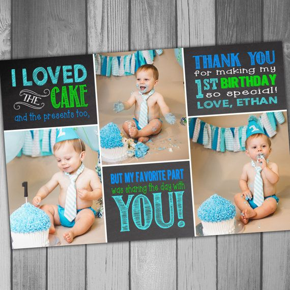 Thank You Card 1st Birthday Boy Birthday Girl by CLaceyDesign