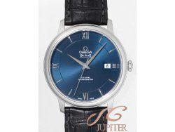 Omega De Ville Prestige Blue Dial Black Leather Mens Watch 42413402003001