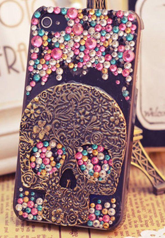 Skull crystal bling phone case