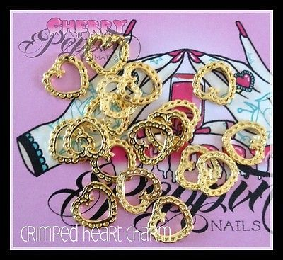 Gold Frilly Heart Nail Charms