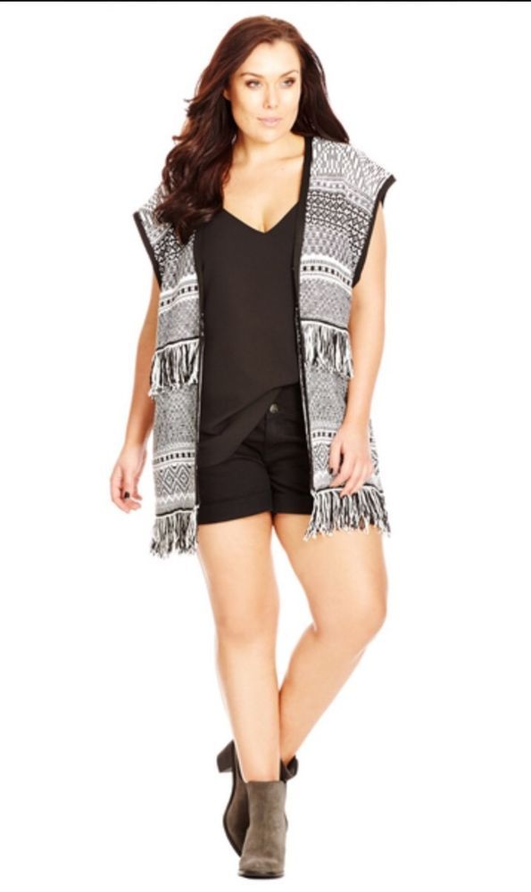 City Chic Fringe Cardi Aztec Size M 18-20 Brand New On Sale Don t Pay $89.95