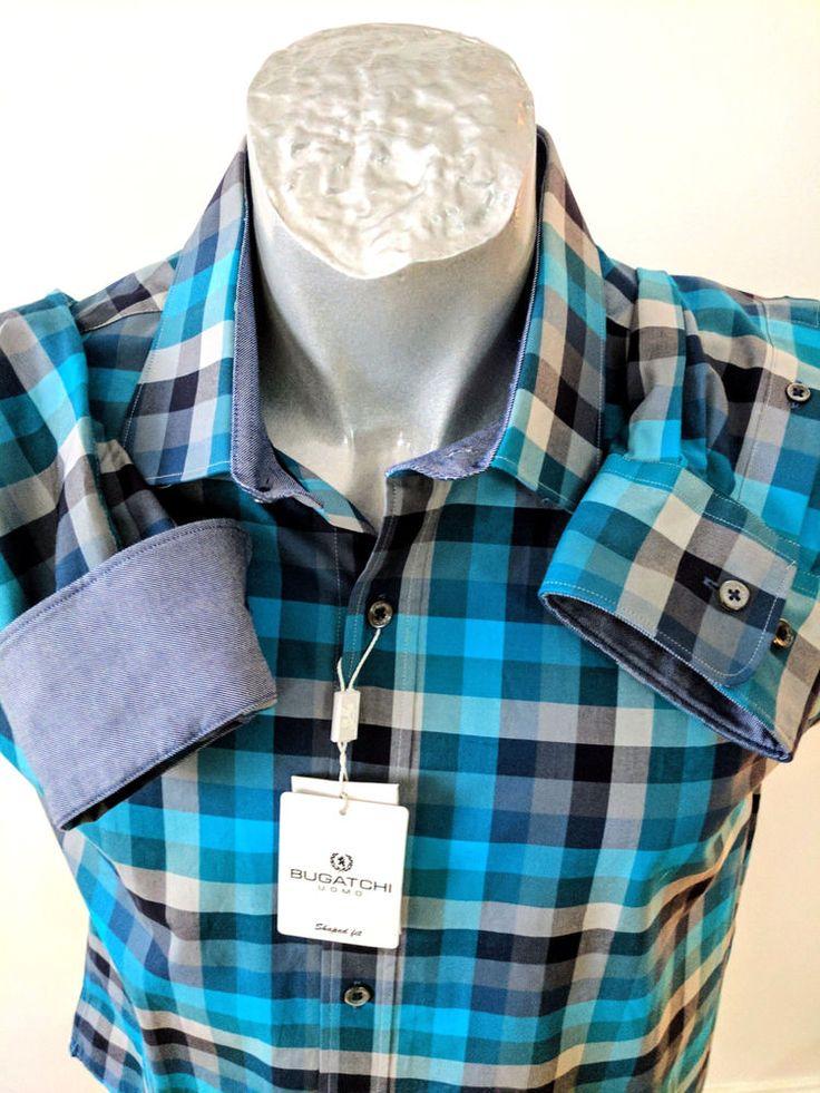 Bugatchi Uomo XL Shaped Fit Men Shirt Emerald Green Black Plaid Flip LS New #Bugatchi #ButtonFront