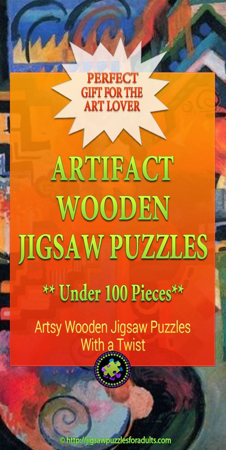 LOVE these small but challenging Artifact Wooden Jigsaw Puzzles Under 100 pieces! They are beautiful artsy handcrafted jigsaw puzzles for adults that made up of a diverse collection of art that puts you in touch with past, present, and imagined civilizations.