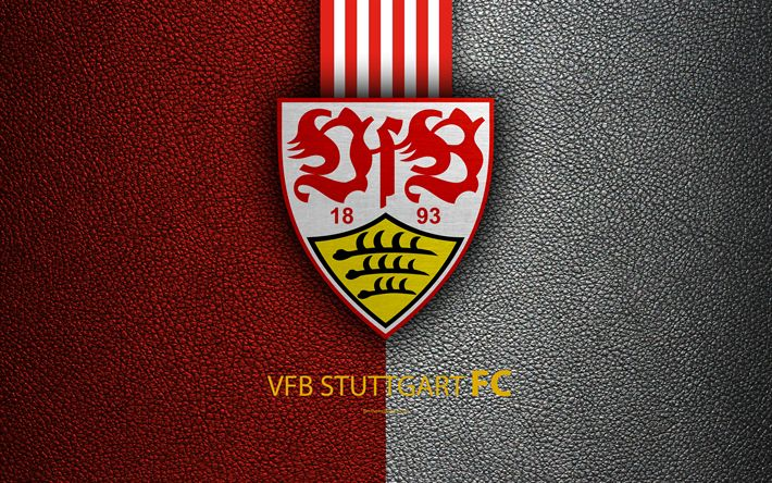 Download wallpapers VfB Stuttgart FC, 4K, German football club, Bundesliga, leather texture, emblem, logo, Stuttgart, Germany, German Football Championships