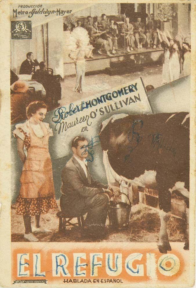 """Programa de mano de cine de la película """"El refugio"""", estrenada en España en el año 1934"""