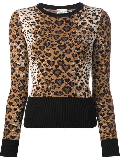 Shop Red Valentino leopard print sweater in Russo Capri from the world's best independent boutiques at farfetch.com. Over 1000 designers from 60 boutiques in one website. $399